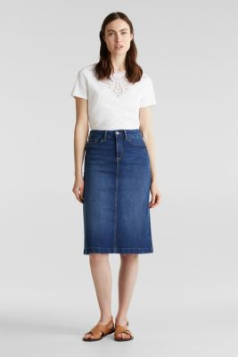 Denim skirt with stretch for comfort, BLUE MEDIUM WASH, detail