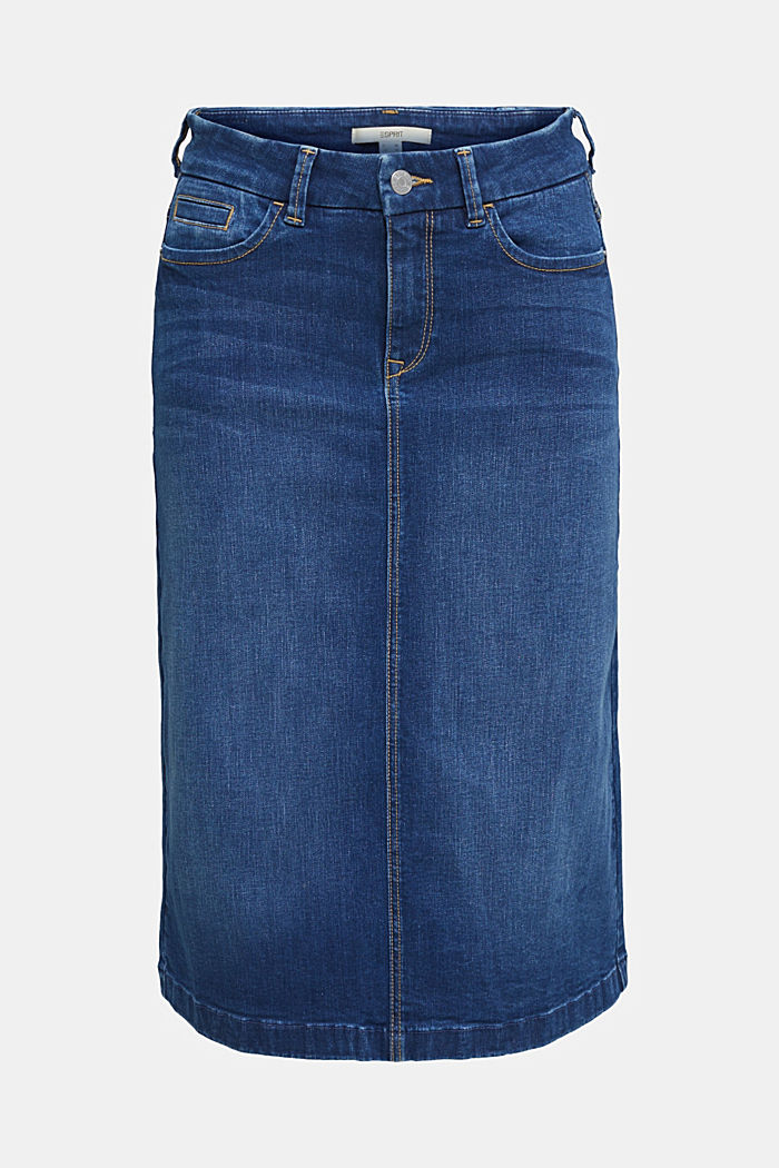 Denim skirt with stretch for comfort, BLUE MEDIUM WASHED, overview