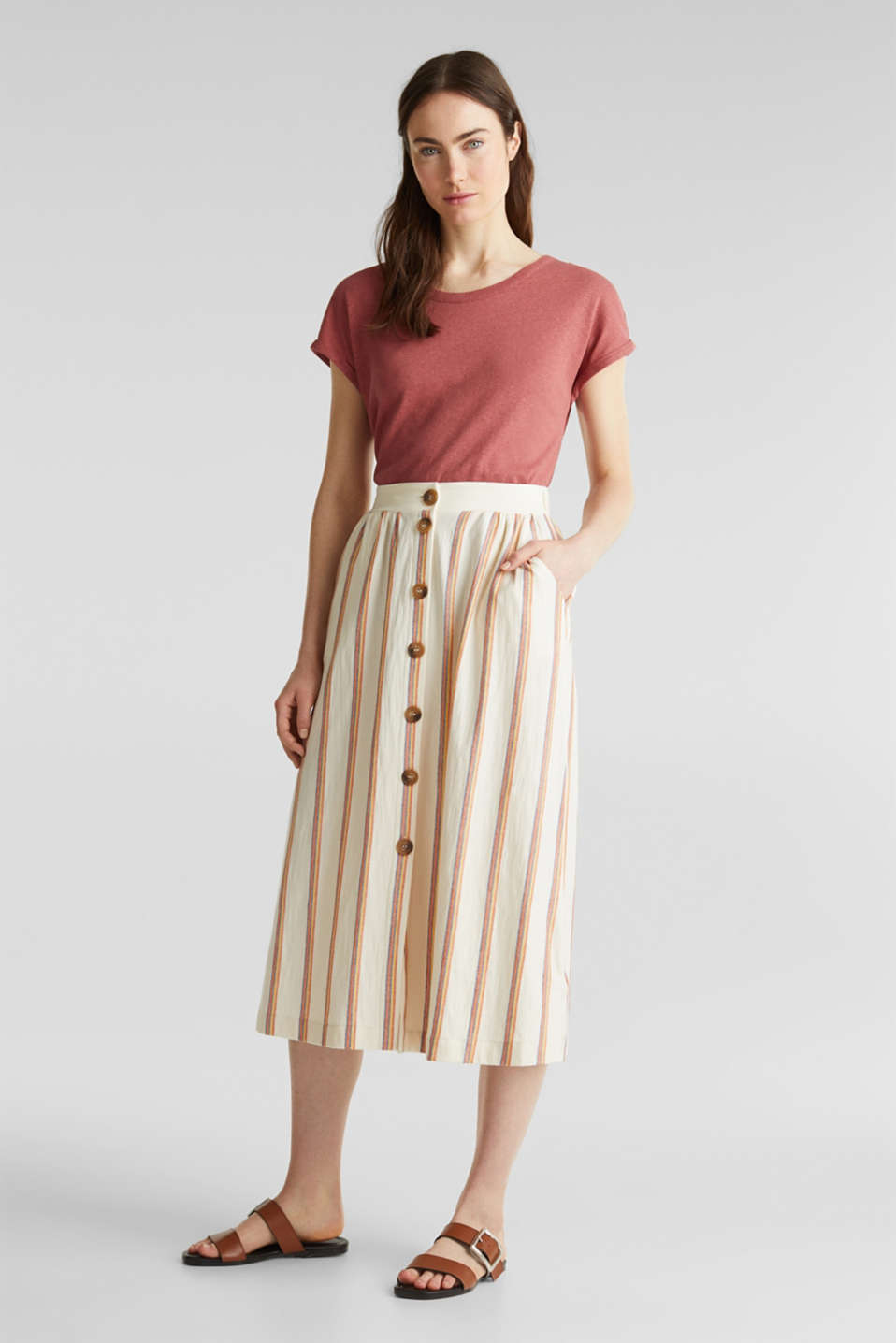 Esprit - Midi skirt with stripes and a button placket