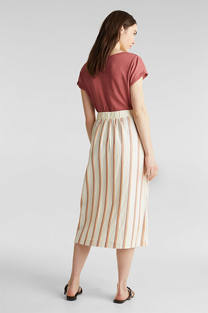 Midi skirt with stripes and a button placket, RUST ORANGE, detail image number 3