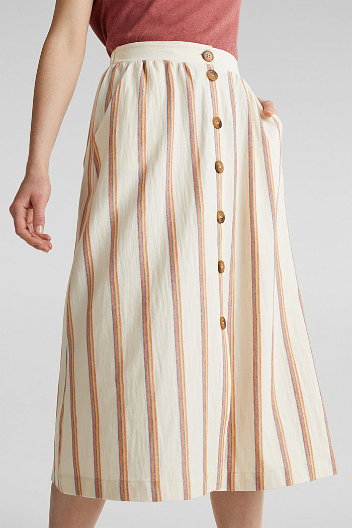 Midi skirt with stripes and a button placket, RUST ORANGE, detail image number 5