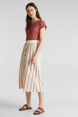 Midi skirt with stripes and a button placket, RUST ORANGE, detail