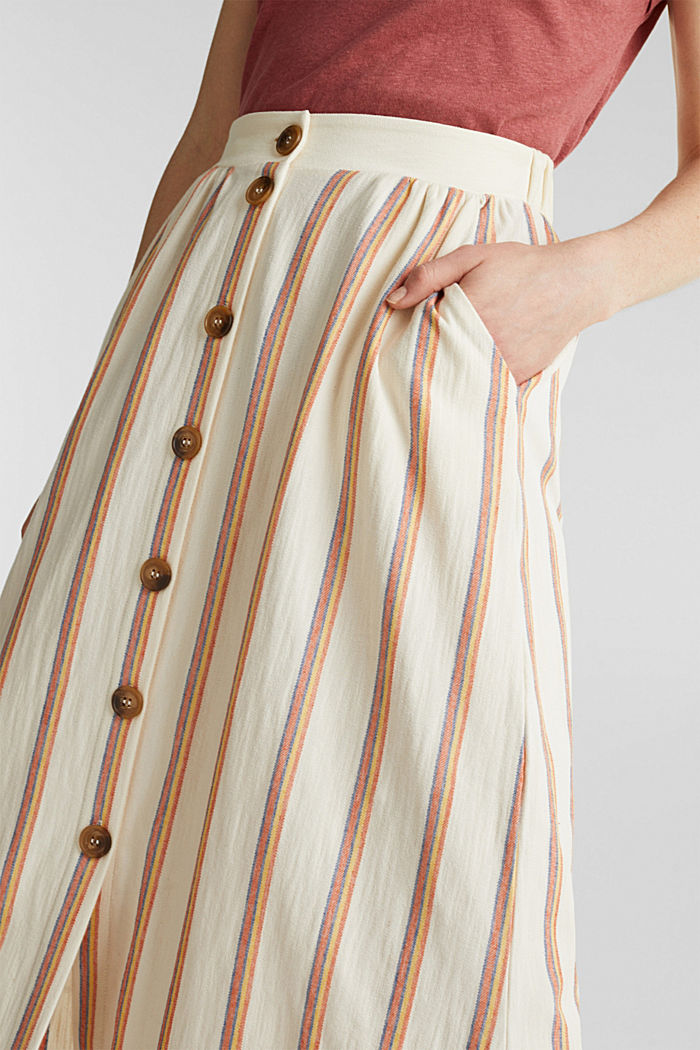 Midi skirt with stripes and a button placket, RUST ORANGE, detail image number 2