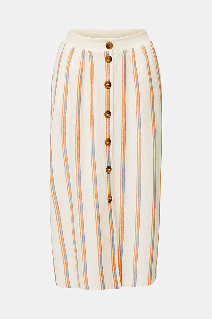 Midi skirt with stripes and a button placket