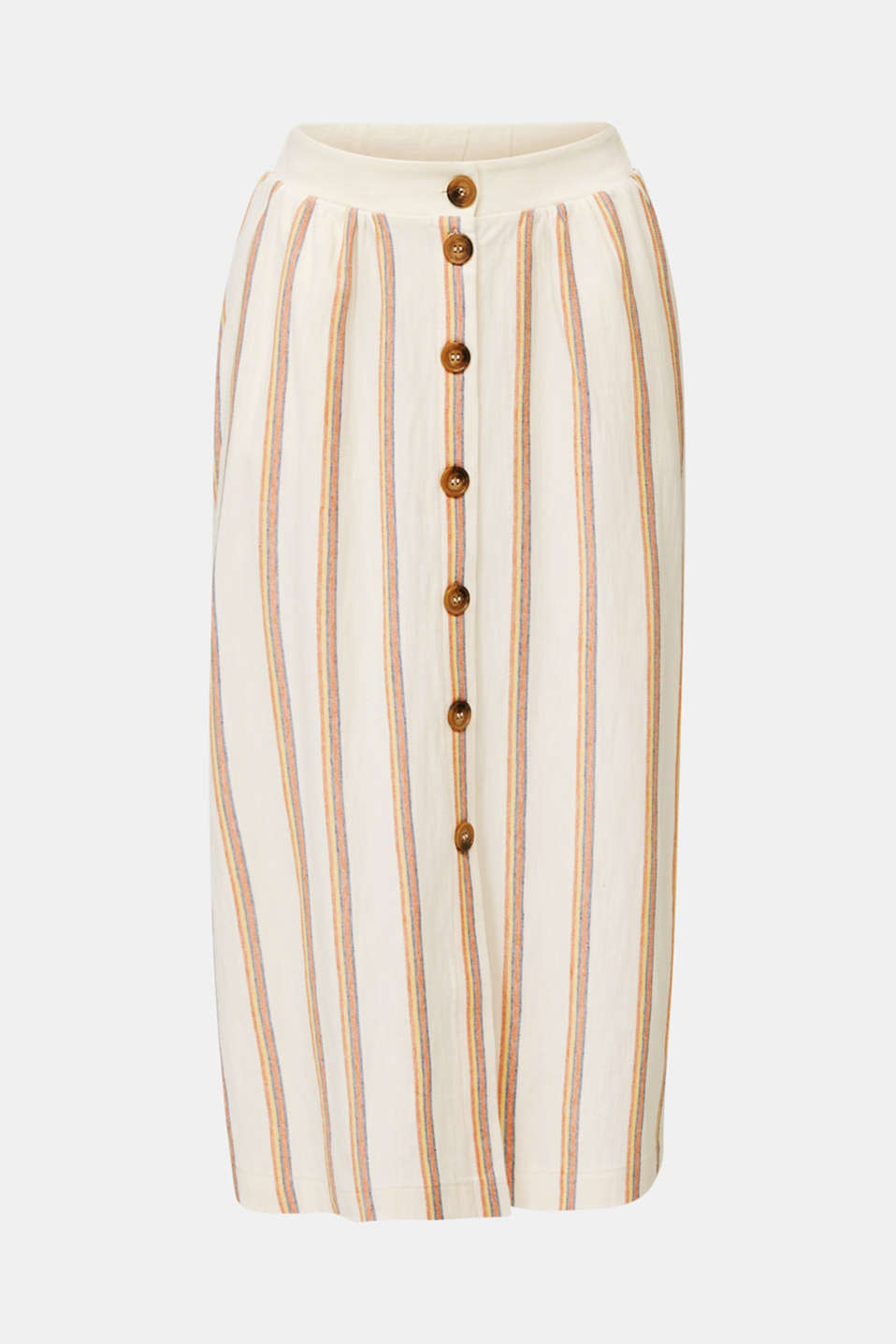 Midi skirt with stripes and a button placket, RUST ORANGE, detail image number 6
