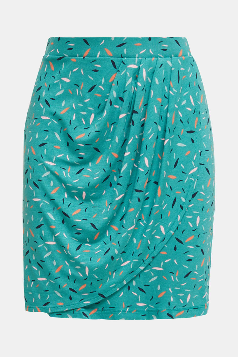 Stretch jersey skirt with a wrap-over effect, TEAL GREEN, detail image number 5