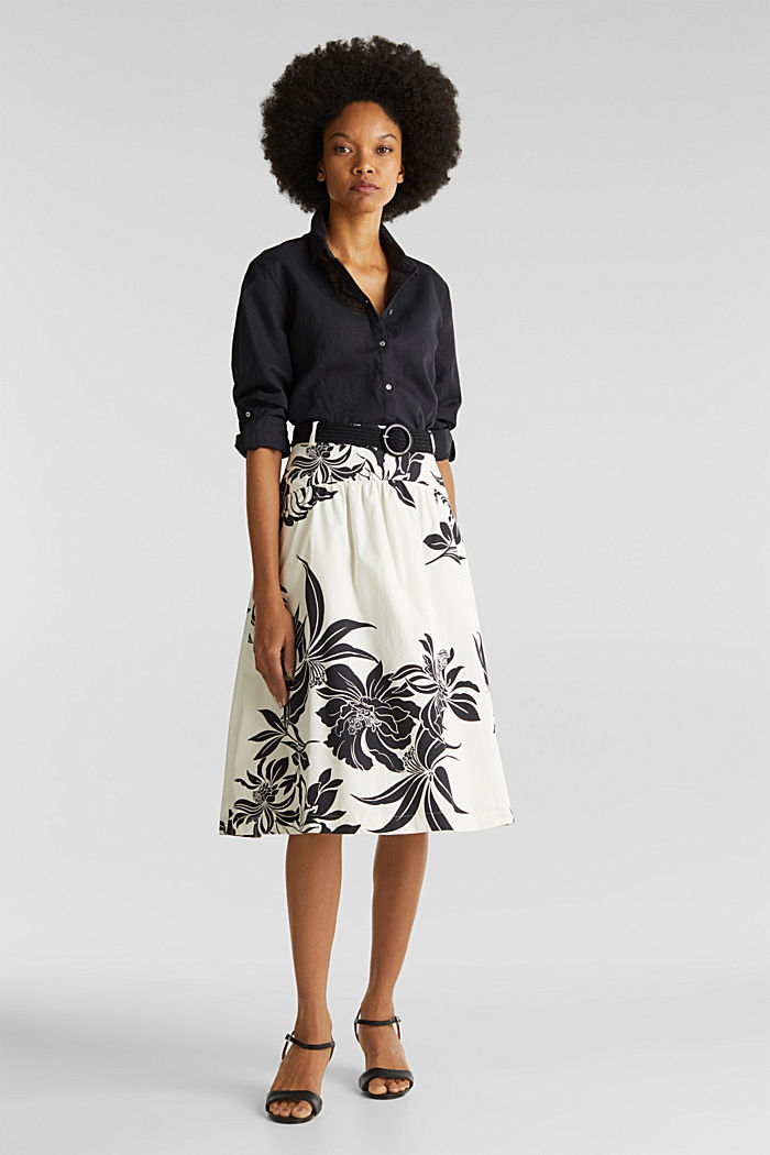 Skirt with a belt, 100% cotton, OFF WHITE, detail image number 0