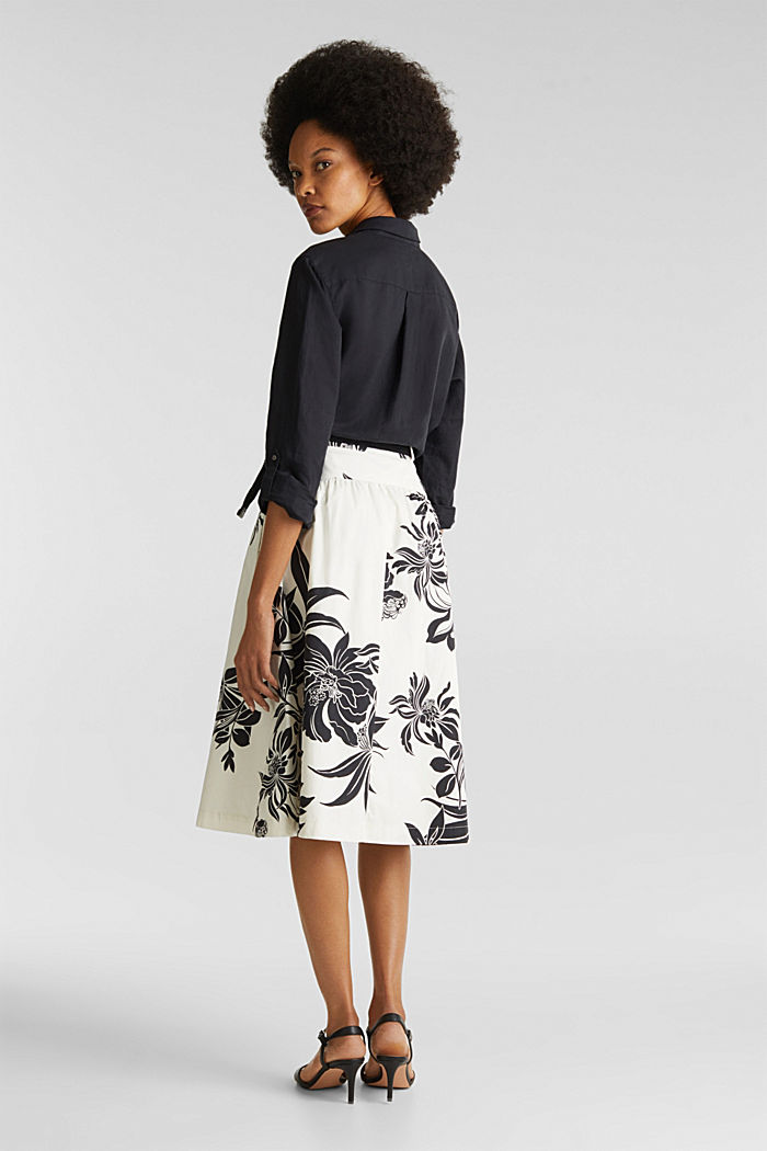 Skirt with a belt, 100% cotton, OFF WHITE, detail image number 3