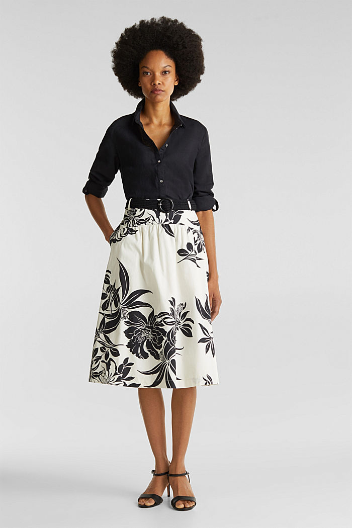 Skirt with a belt, 100% cotton, OFF WHITE, detail image number 1