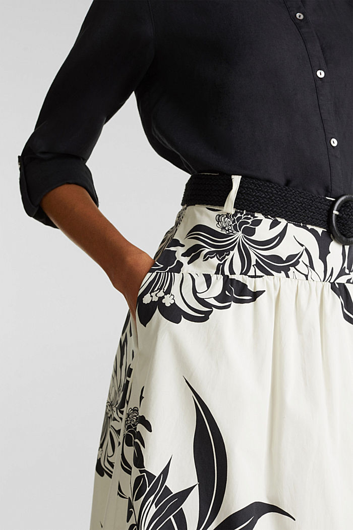 Skirt with a belt, 100% cotton, OFF WHITE, detail image number 2