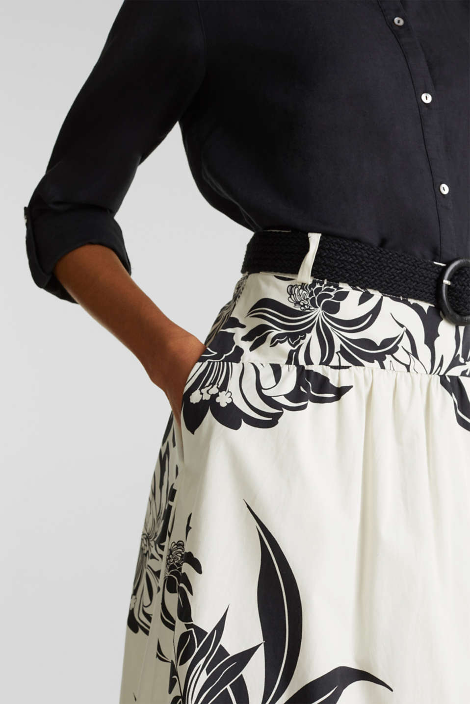 Skirt with a belt, 100% cotton, OFF WHITE 4, detail image number 2