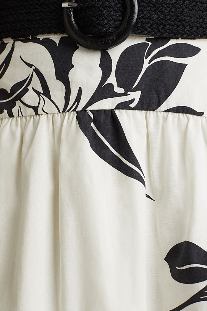 Rock mit Gürtel, 100% Baumwolle, OFF WHITE, detail image number 4