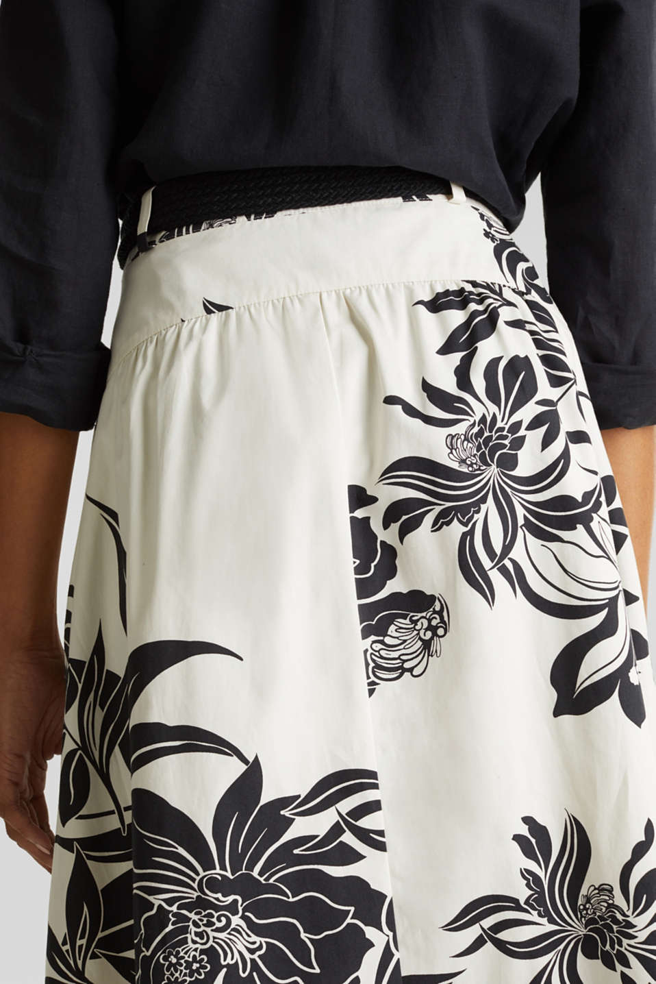 Skirt with a belt, 100% cotton, OFF WHITE 4, detail image number 5