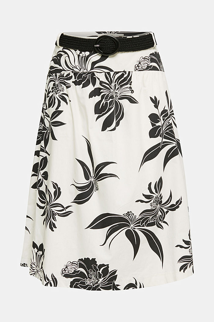 Skirt with a belt, 100% cotton, OFF WHITE, detail image number 6
