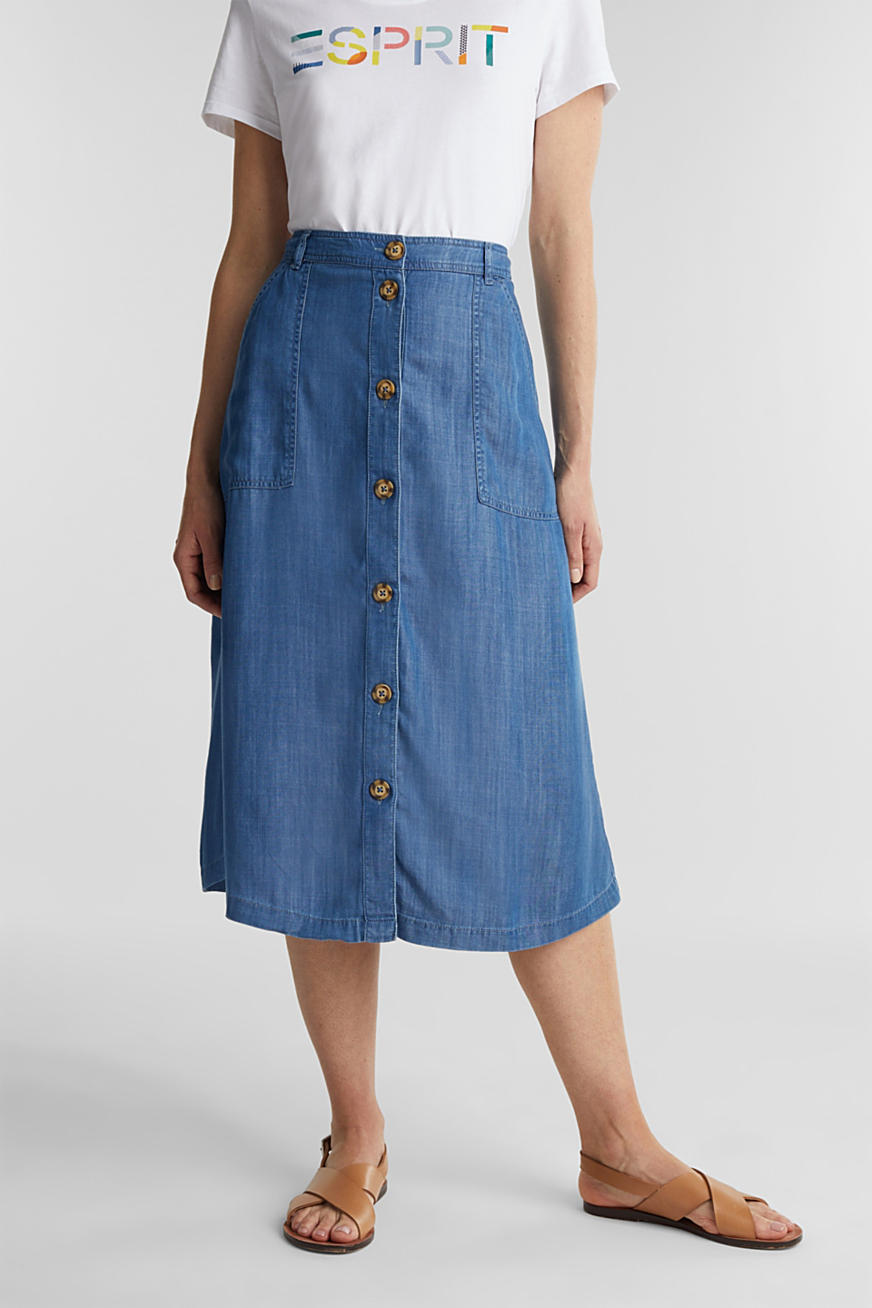 In TENCEL™: gonna in denim dalla linea ad A