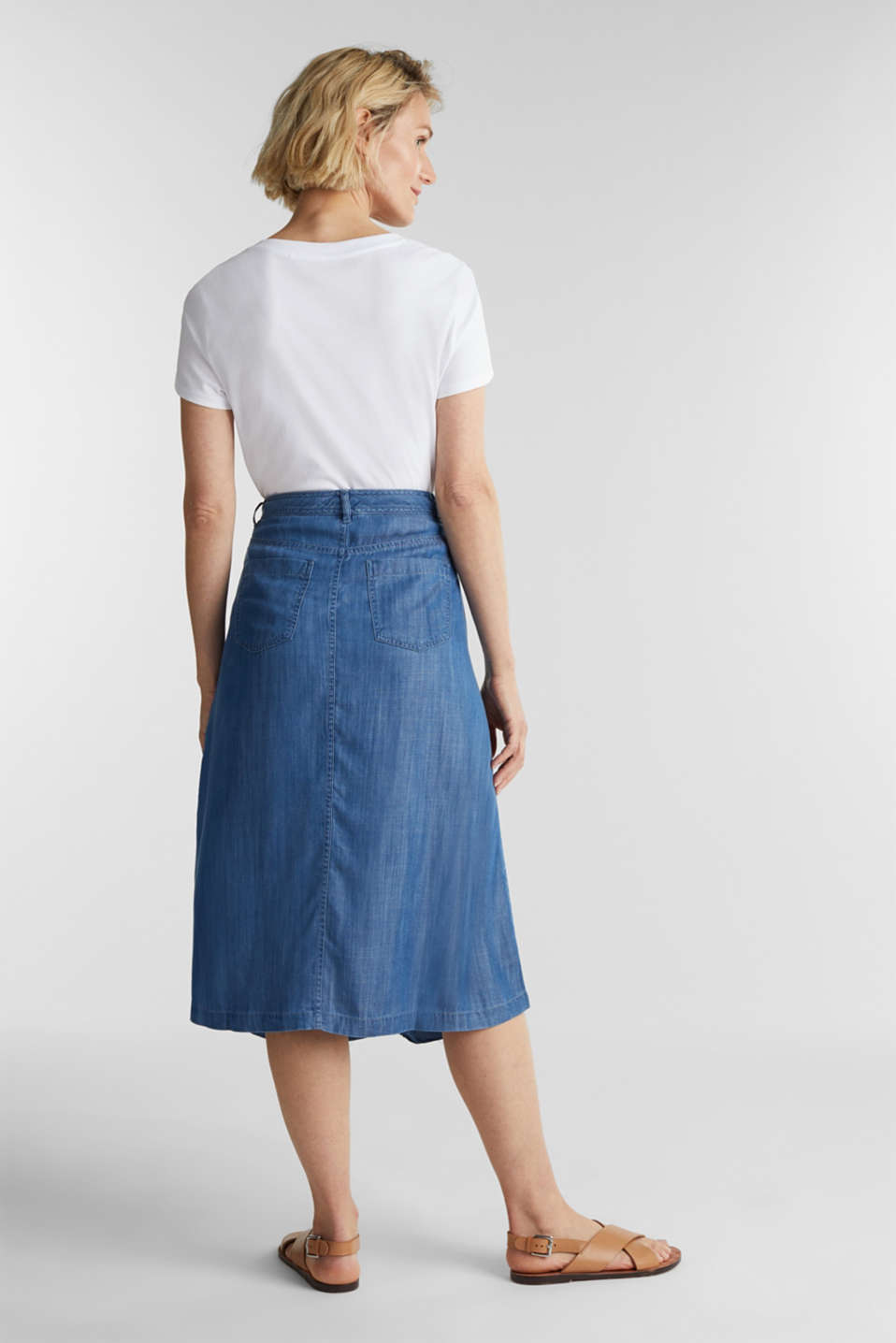 Made of TENCEL™: A-line denim skirt, BLUE MEDIUM WASH, detail image number 3