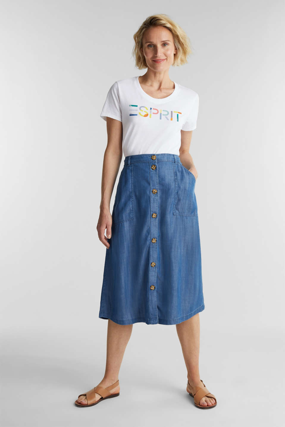 Made of TENCEL™: A-line denim skirt, BLUE MEDIUM WASH, detail image number 5