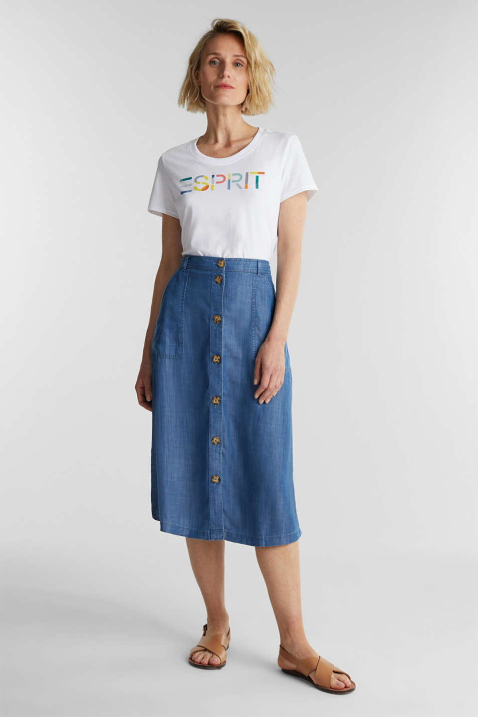 Made of TENCEL™: A-line denim skirt, BLUE MEDIUM WASH, detail image number 1