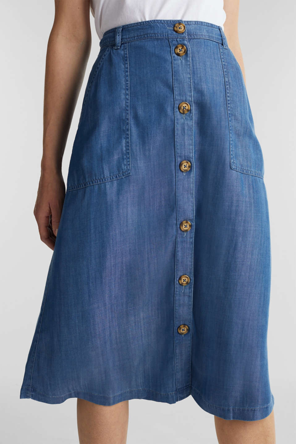 Made of TENCEL™: A-line denim skirt, BLUE MEDIUM WASH, detail image number 2