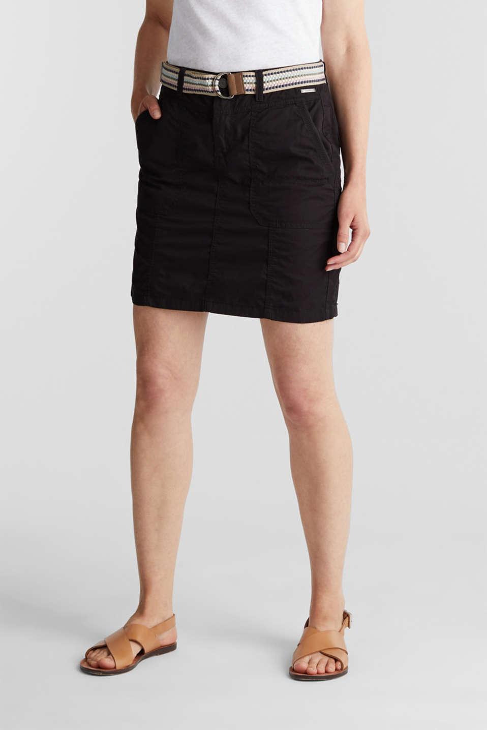 Skirt with belt, 100% organic cotton, BLACK, detail image number 0