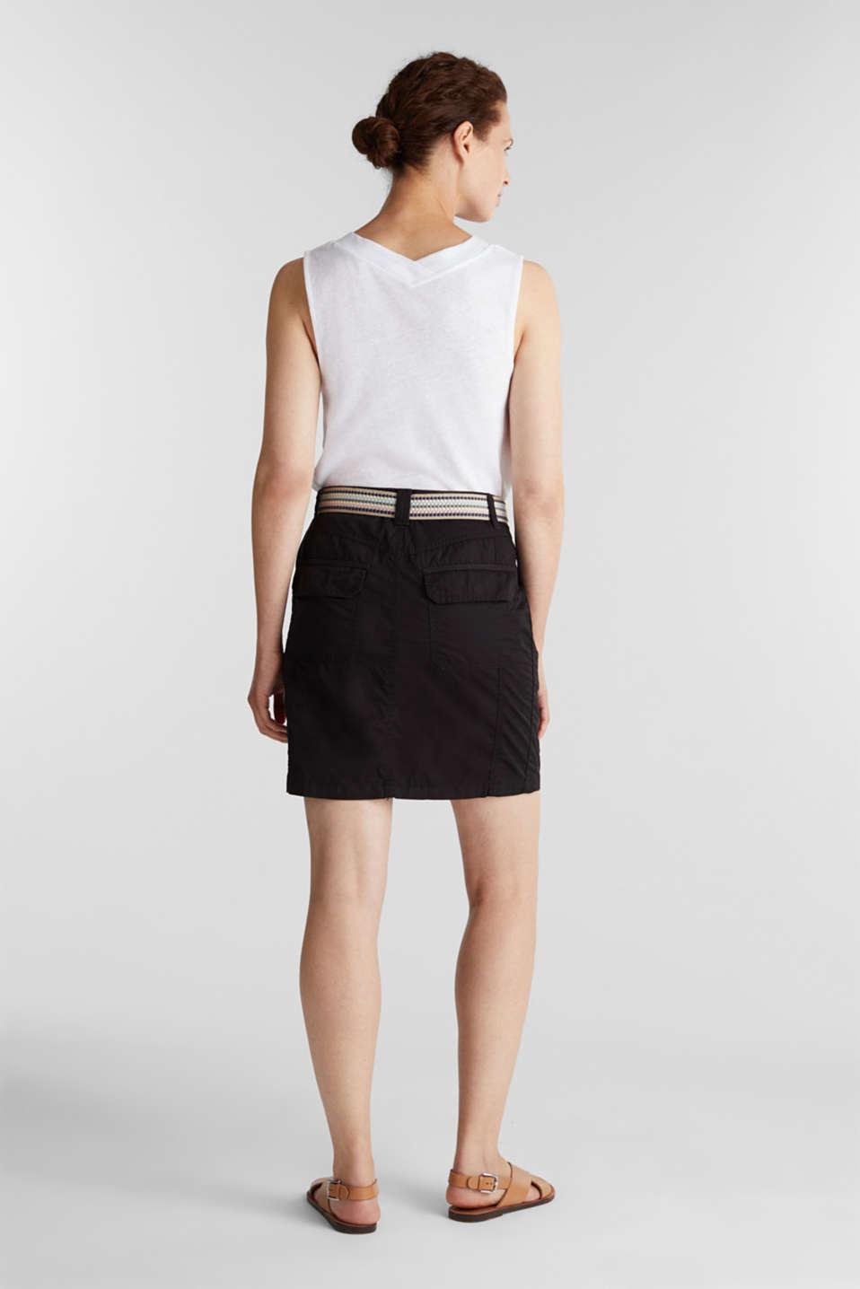Skirt with belt, 100% organic cotton, BLACK, detail image number 3