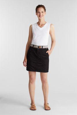 Skirt with belt, 100% organic cotton, BLACK, detail