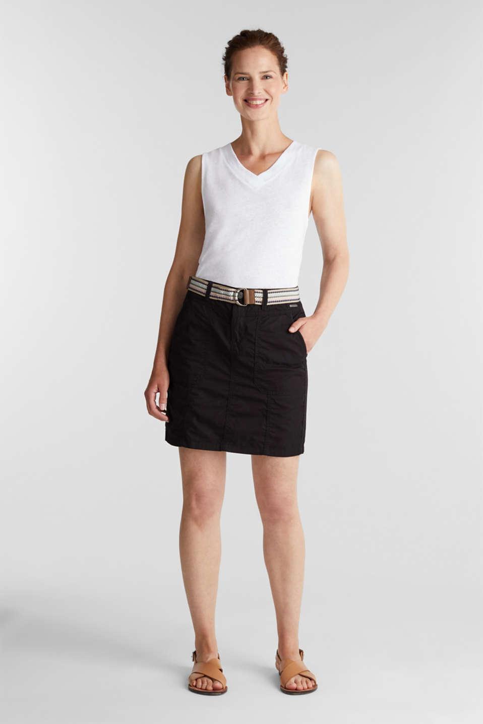 Skirt with belt, 100% organic cotton, BLACK, detail image number 1