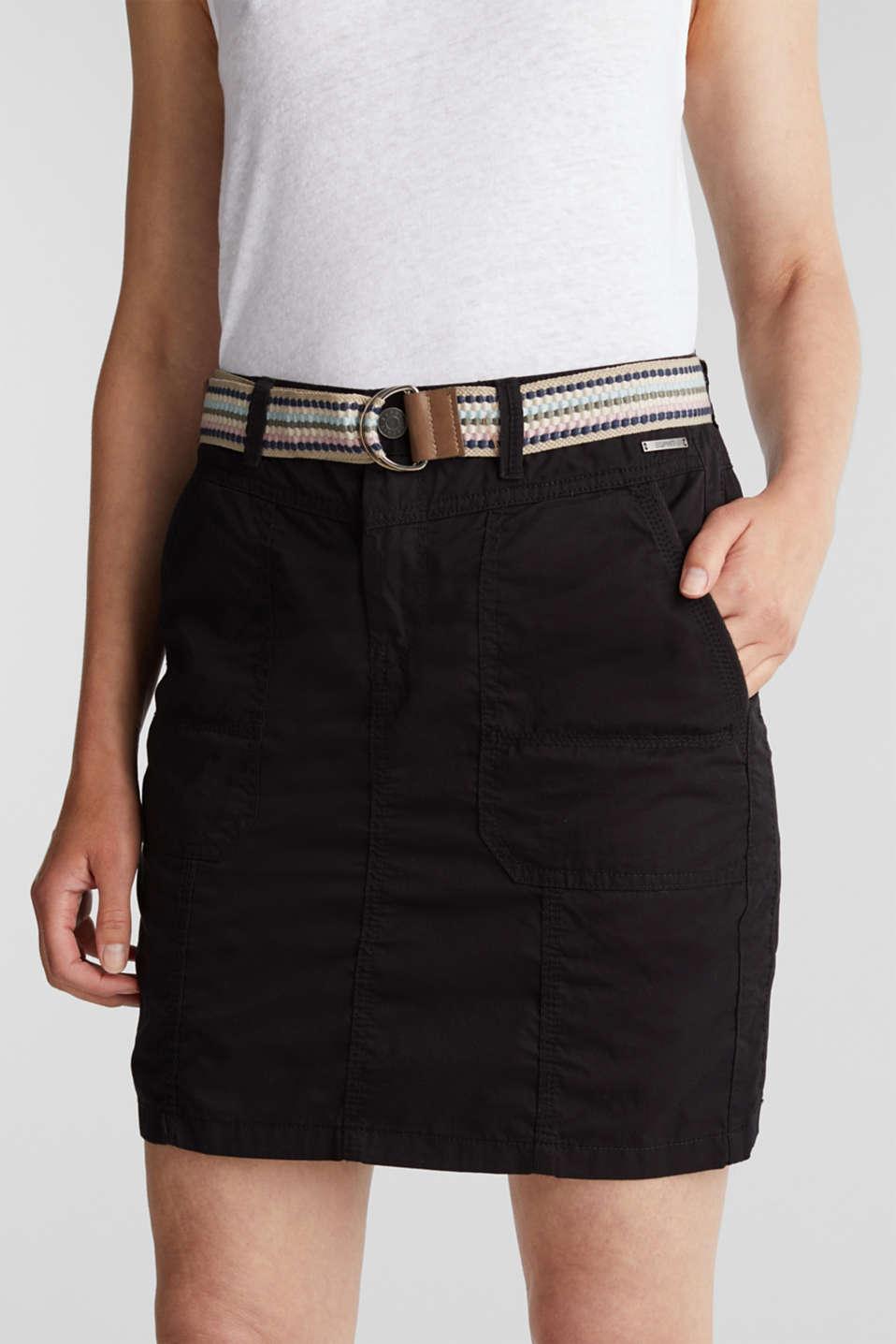 Skirt with belt, 100% organic cotton, BLACK, detail image number 2