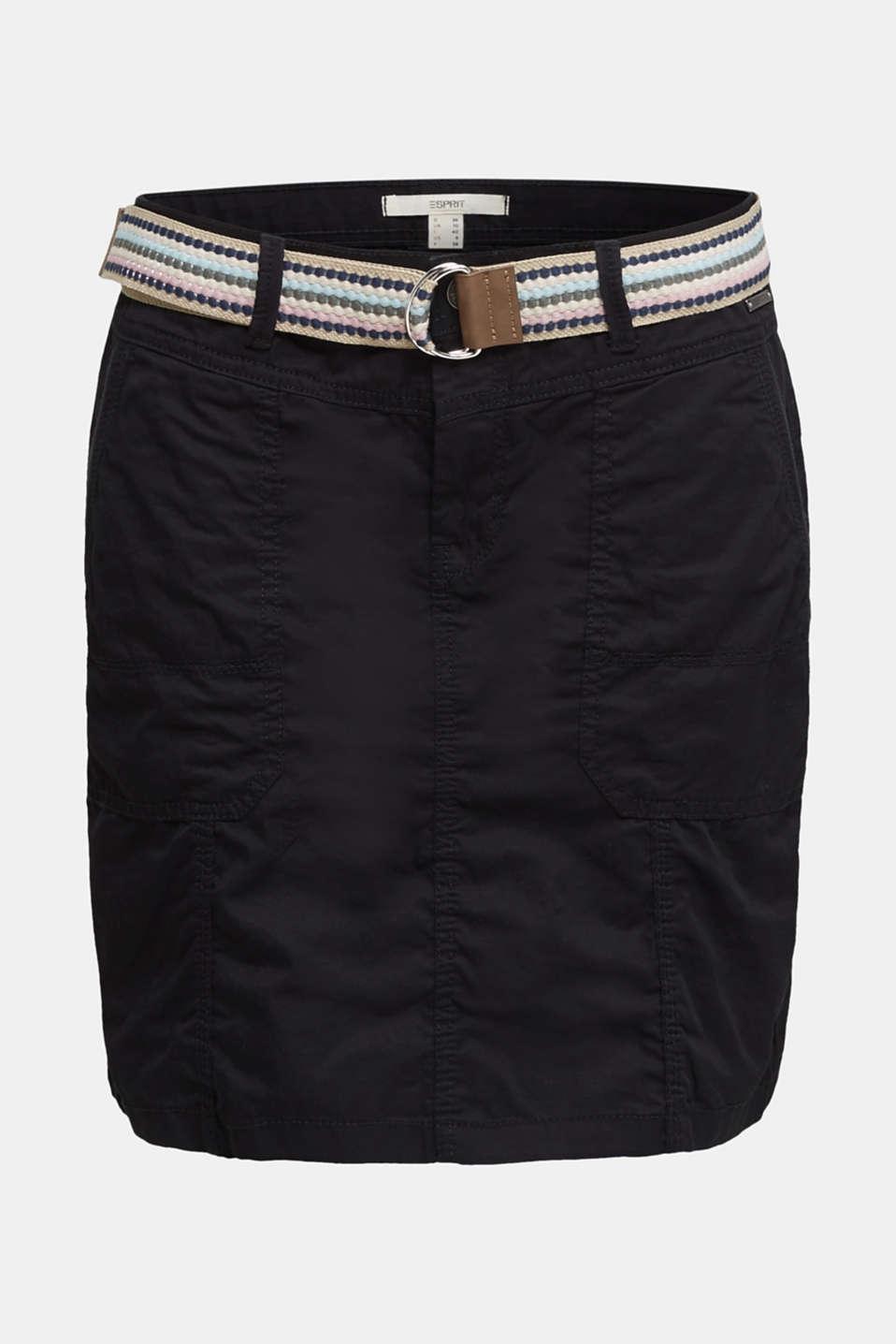Skirt with belt, 100% organic cotton, BLACK, detail image number 5