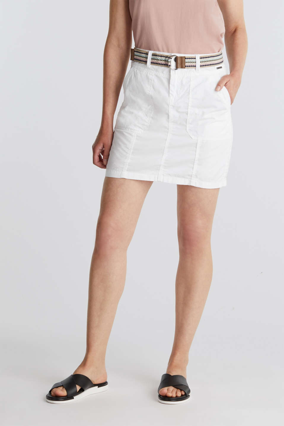 Skirt with belt, 100% organic cotton, WHITE, detail image number 0