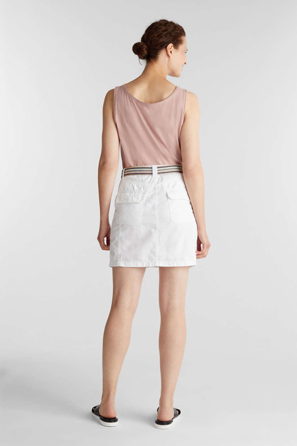 Skirt with belt, 100% organic cotton, WHITE, detail image number 3