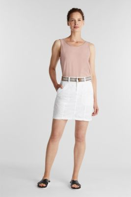 Skirt with belt, 100% organic cotton, WHITE, detail