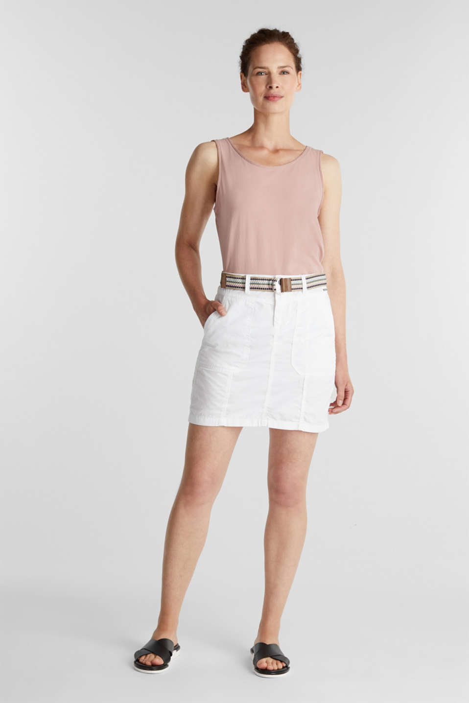 Skirt with belt, 100% organic cotton, WHITE, detail image number 1
