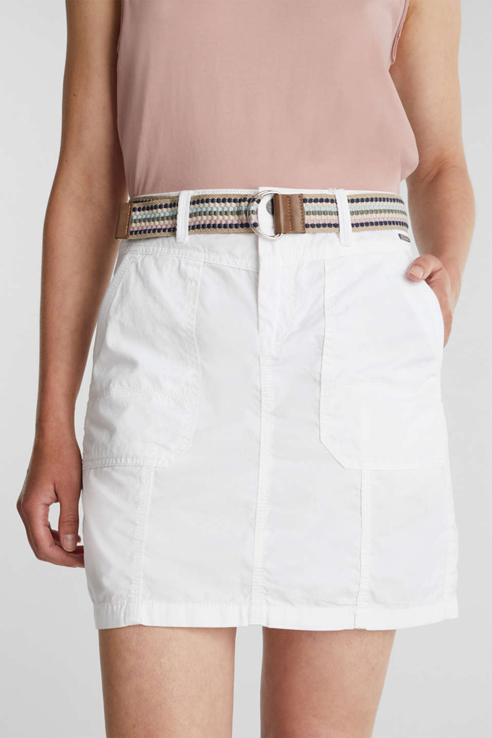 Skirt with belt, 100% organic cotton, WHITE, detail image number 2
