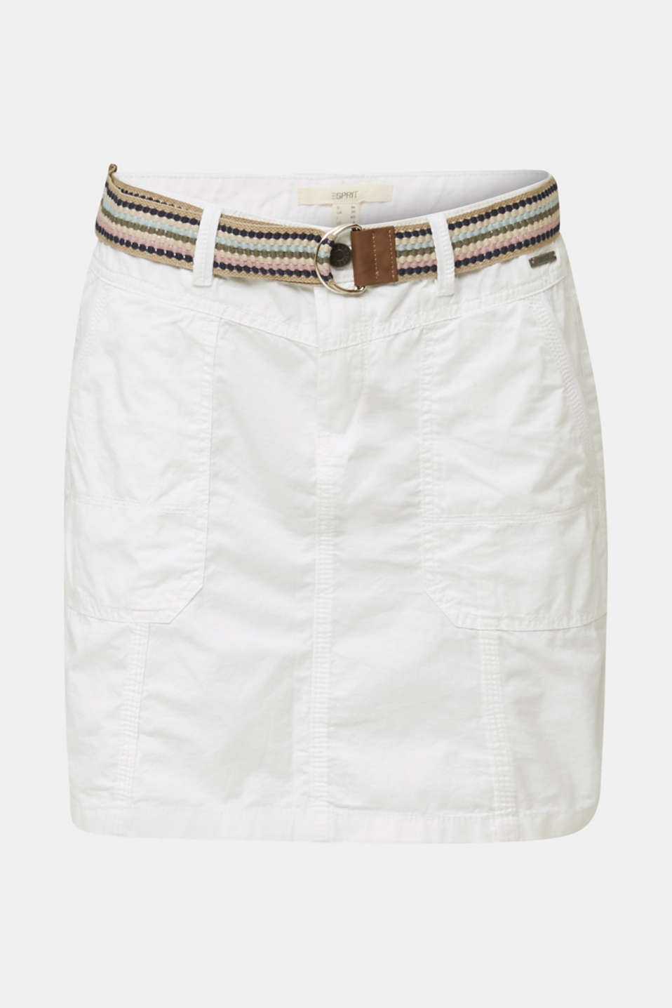 Skirt with belt, 100% organic cotton, WHITE, detail image number 5