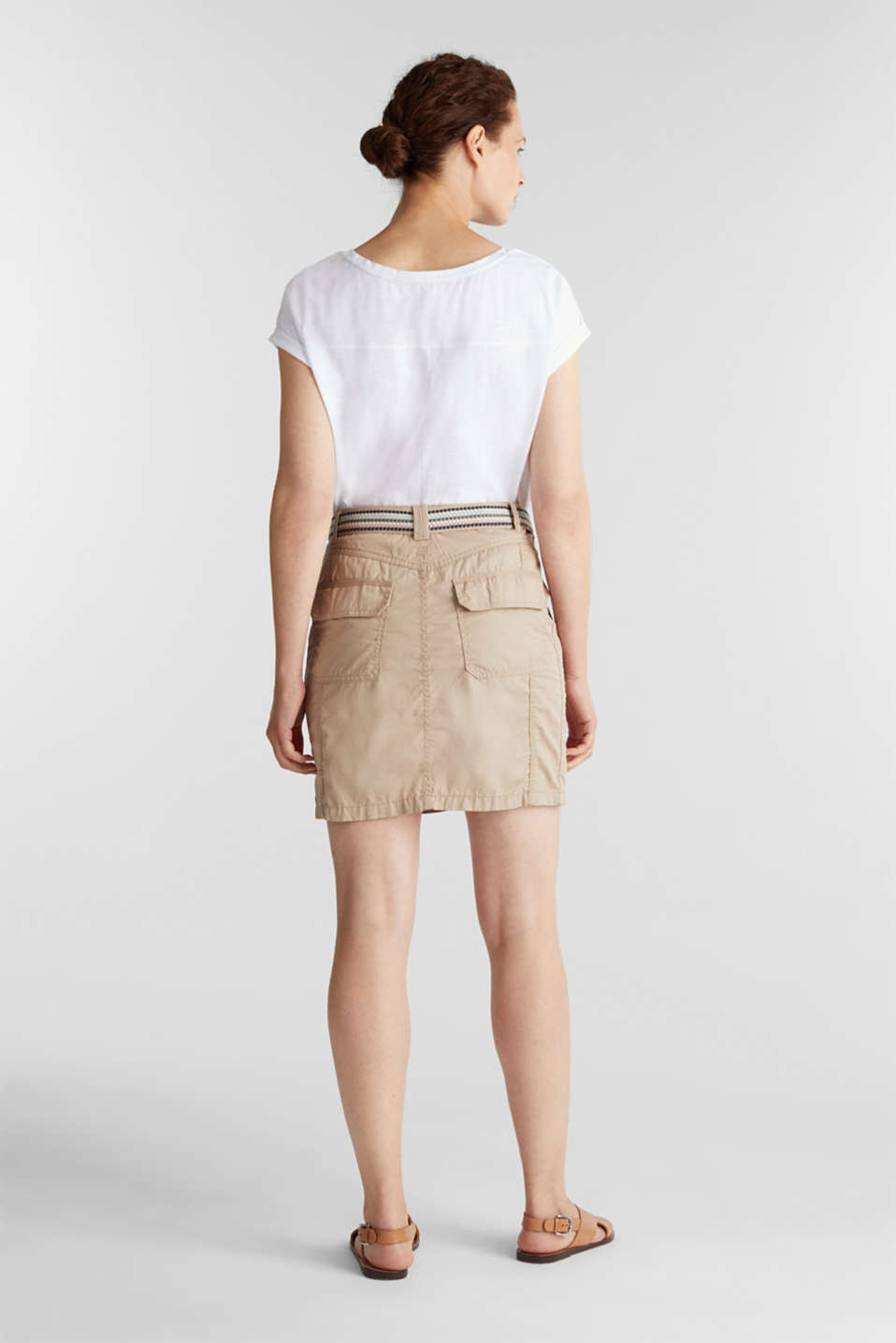 Skirt with belt, 100% organic cotton, BEIGE, detail image number 3