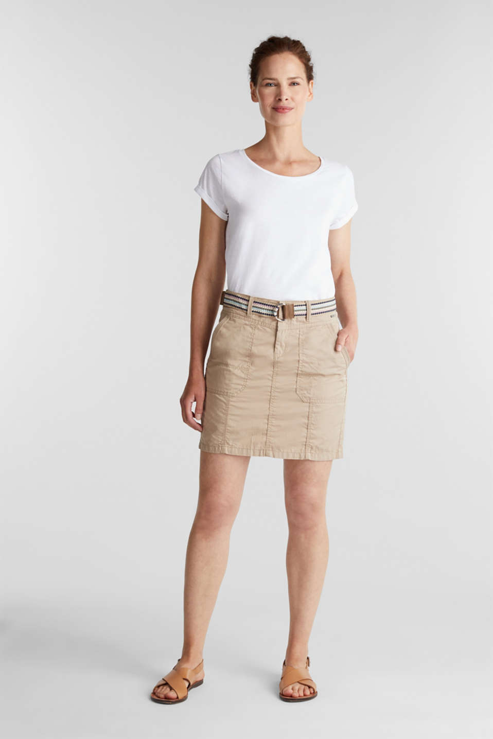 Skirt with belt, 100% organic cotton, BEIGE, detail image number 1