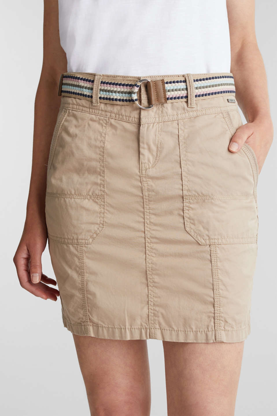 Skirt with belt, 100% organic cotton, BEIGE, detail image number 2