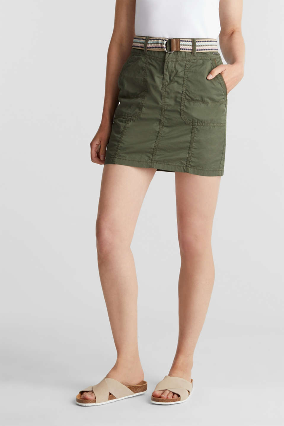 Skirt with belt, 100% organic cotton, KHAKI GREEN, detail image number 0