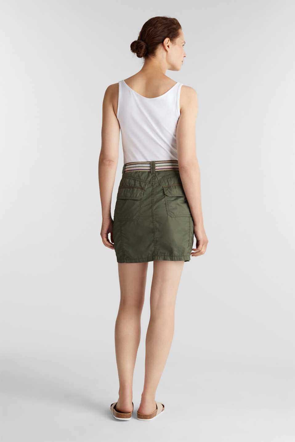 Skirt with belt, 100% organic cotton, KHAKI GREEN, detail image number 3