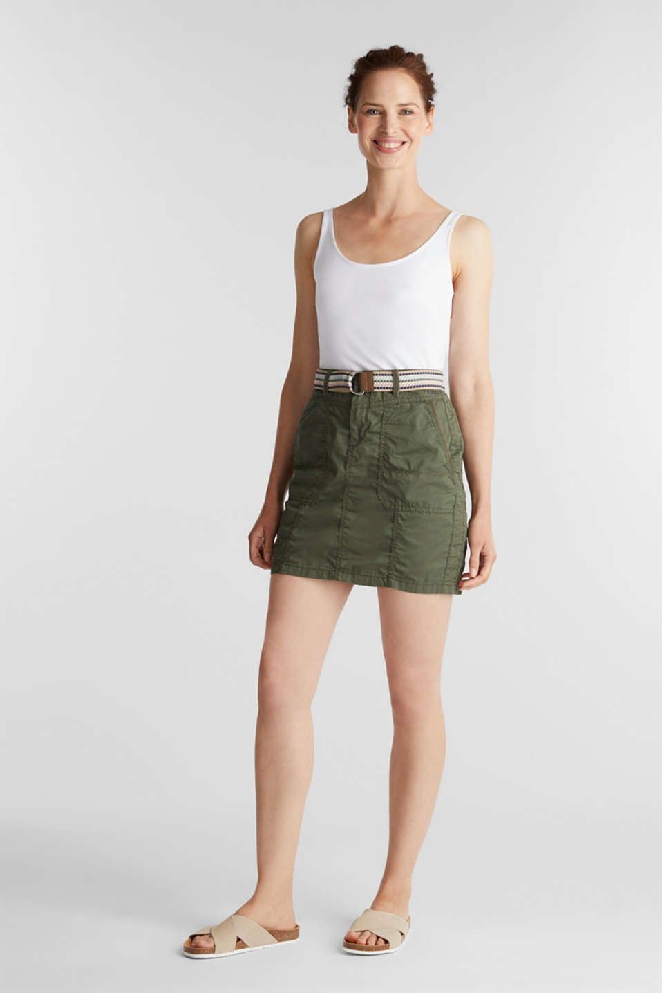 Skirt with belt, 100% organic cotton, KHAKI GREEN, detail image number 1