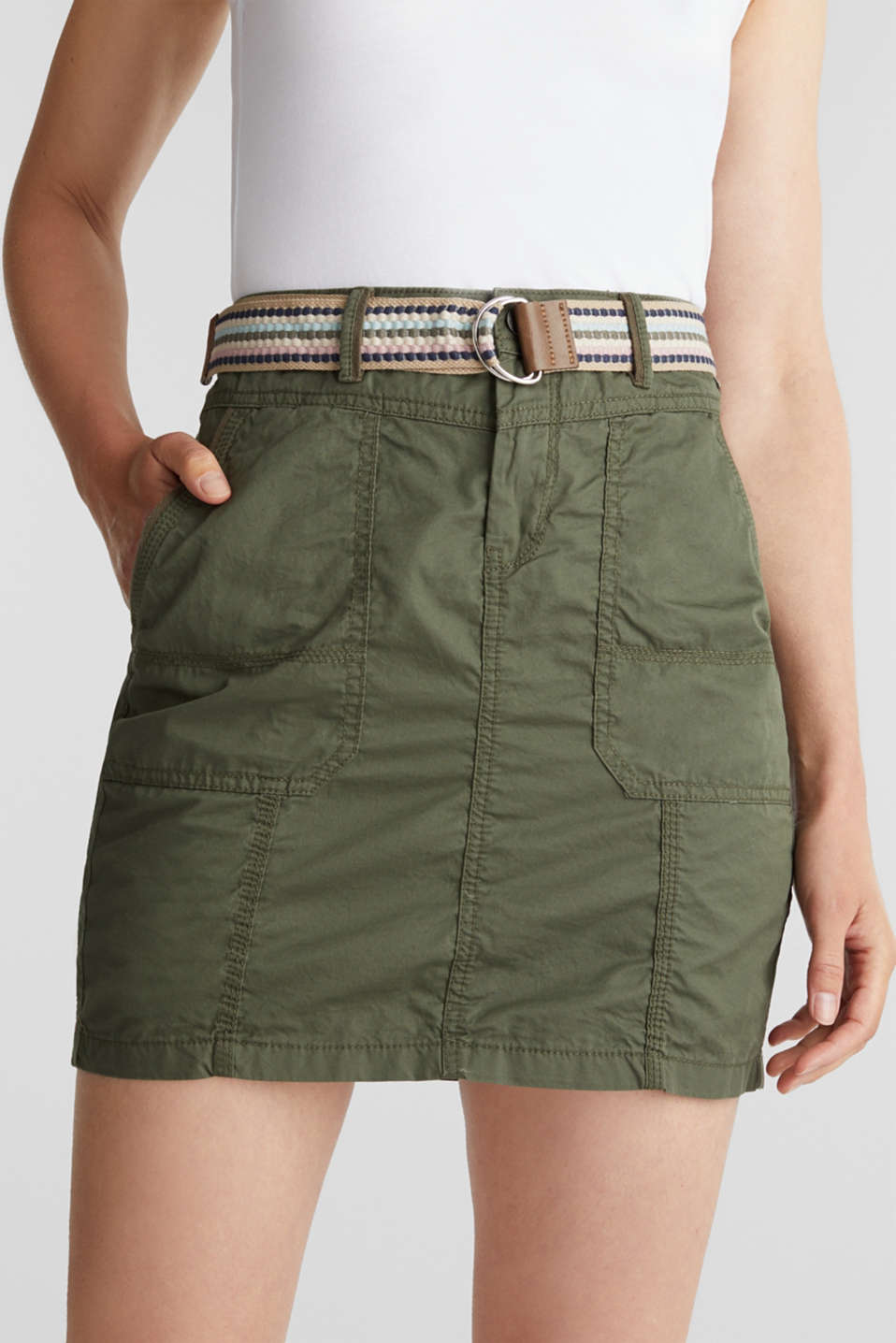 Skirt with belt, 100% organic cotton, KHAKI GREEN, detail image number 2