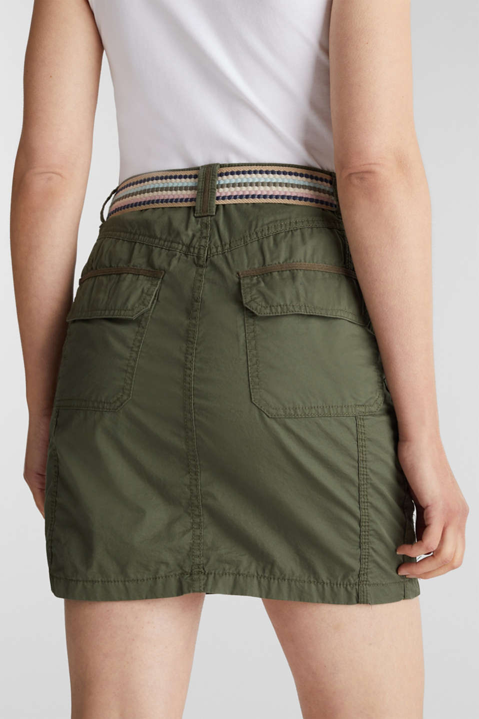 Skirt with belt, 100% organic cotton, KHAKI GREEN, detail image number 5