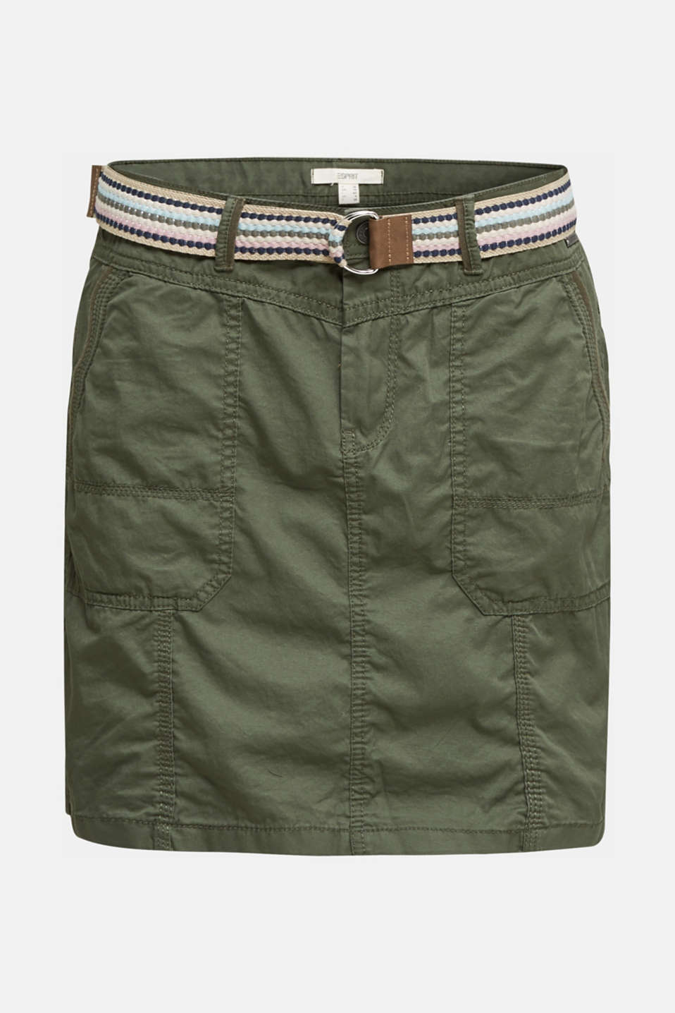 Skirt with belt, 100% organic cotton, KHAKI GREEN, detail image number 7