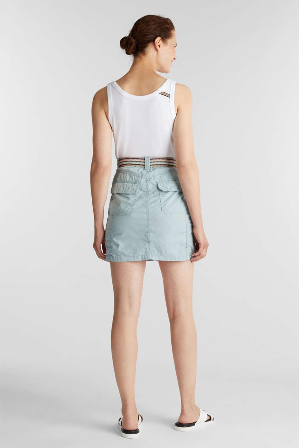 Skirt with belt, 100% organic cotton, LIGHT AQUA GREEN, detail image number 3