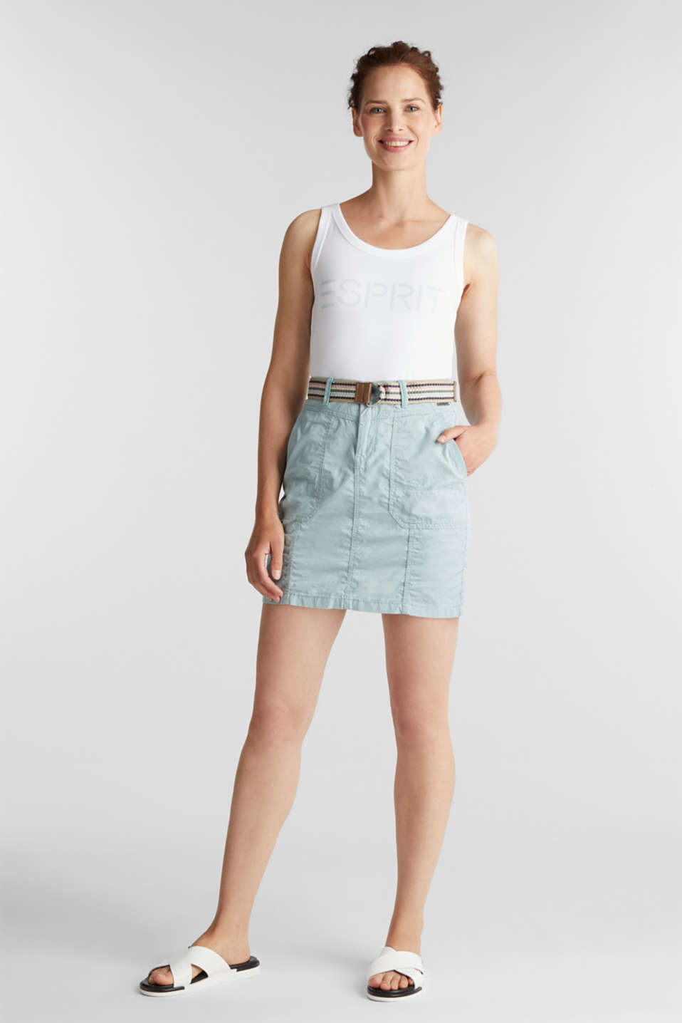 Skirt with belt, 100% organic cotton, LIGHT AQUA GREEN, detail image number 1