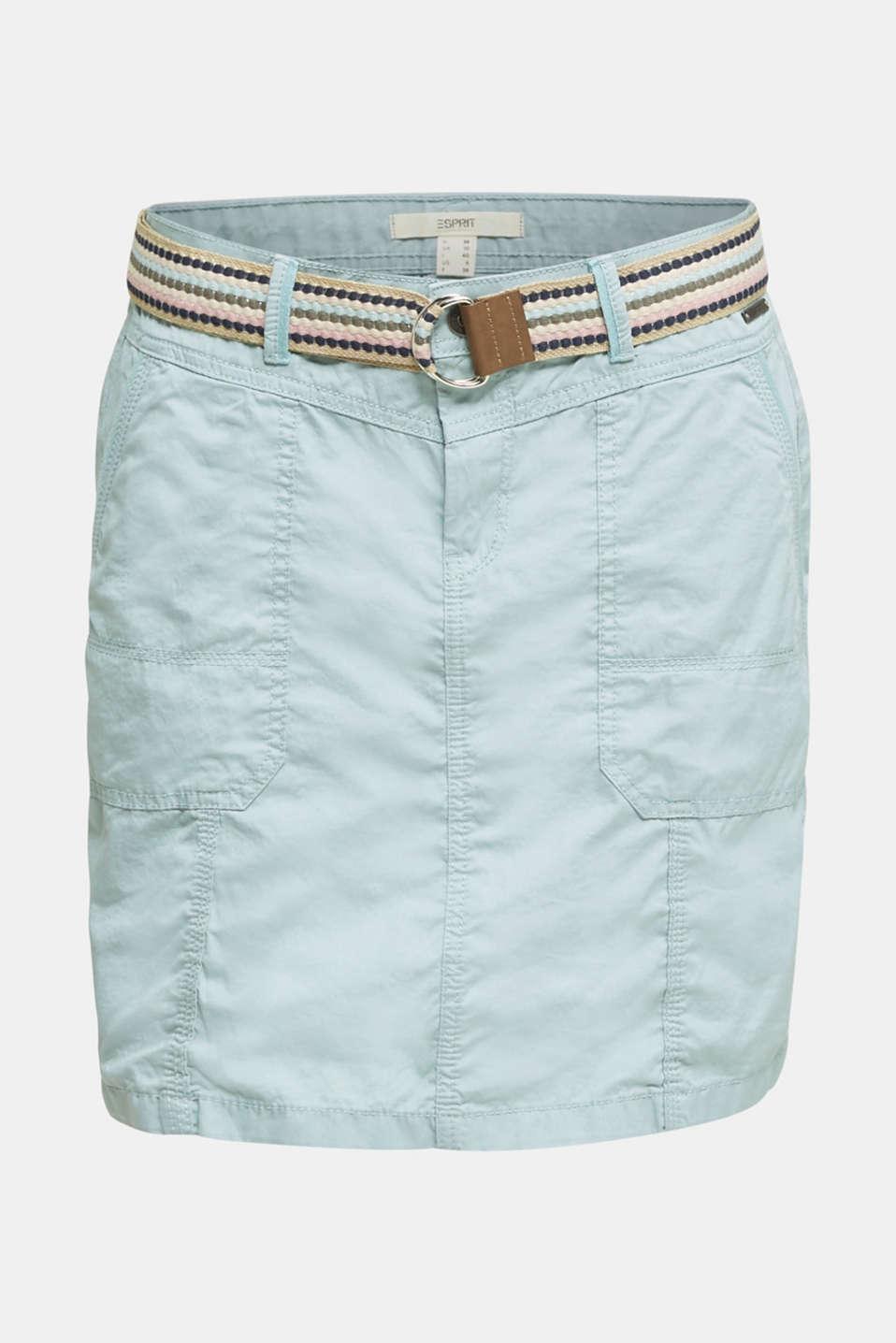 Skirt with belt, 100% organic cotton, LIGHT AQUA GREEN, detail image number 7