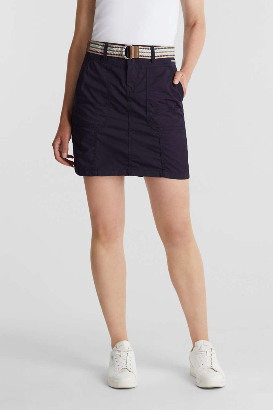 Esprit - Skirt with belt, 100% organic cotton
