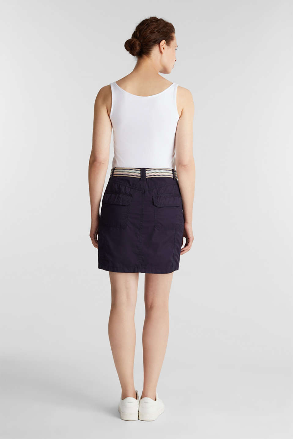 Skirt with belt, 100% organic cotton, NAVY, detail image number 3