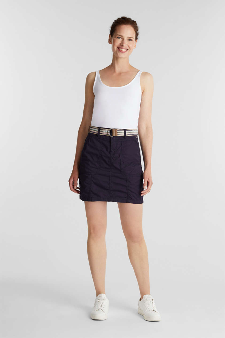 Skirt with belt, 100% organic cotton, NAVY, detail image number 1